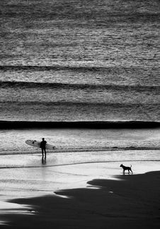 Free Person Walking On Shore While Holding Surfboard Near Dog Standing On Shoreline Grayscale Photography Royalty Free Stock Images - 130492289