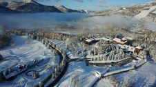 Free Aerial Photography Of Buildings Covered By Snow Stock Photos - 130492333
