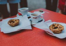 Free Two Baked Pastries In Plate On Table Royalty Free Stock Images - 130492539