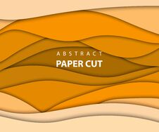 Free Vector Background With Yellow And Orange Color Paper Cut Shapes. Stock Photos - 130540543