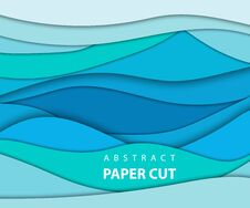 Free Vector Background With Blue Color Paper Cut Shapes. 3D Abstract Stock Photos - 130540553