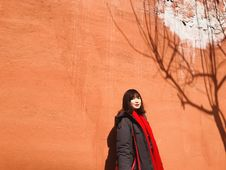 Free Woman Standing Behind Wall With Shadow Of Tree Stock Photos - 130575163