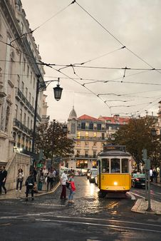 Free Yellow Tram In City Street Royalty Free Stock Image - 130575646