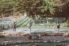 Free Four Person Playing Ball Surrounded By Trees Royalty Free Stock Photos - 130644768