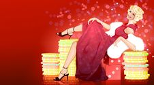Free Woman On The Abstract Background Royalty Free Stock Photos - 13073018