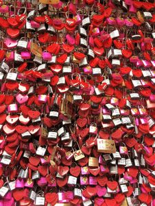 Free Assorted-color-shaped Padlocks Hanging On Grey Metal Stock Photography - 130707152