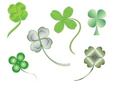 Free Silhouettes Of Illustrated Four-leaf Clovers Royalty Free Stock Photos - 13085808