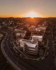 Free Aerial View Of Buildings With Sunset Background Royalty Free Stock Image - 130895746