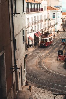 Free View Of Tram On Street Royalty Free Stock Images - 130896149