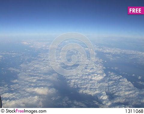 Sky from plane window Stock Photo