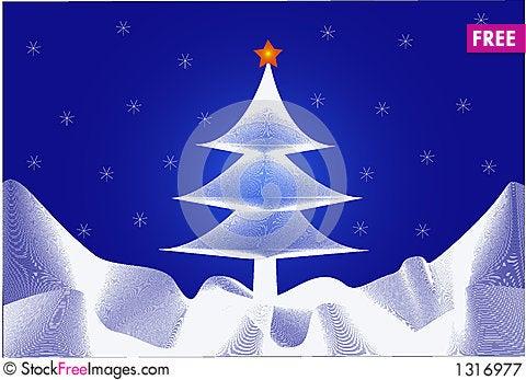 Christmas tree and Star Cartoon Illustration