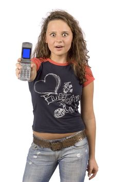 Free Female Teenager Showing Phones  Screen Royalty Free Stock Images - 1311049