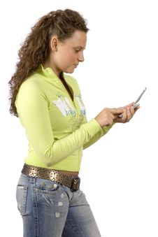 Free Female Teenager Writting Short Text Message Royalty Free Stock Image - 1311056