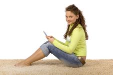 Free Female Teenager Writting Short Text Message Royalty Free Stock Photography - 1311187