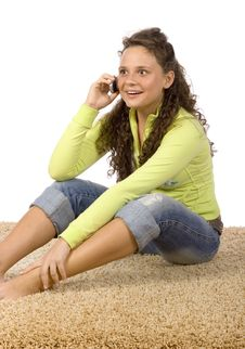 Free Female Teenager On The Phone Stock Photo - 1311200
