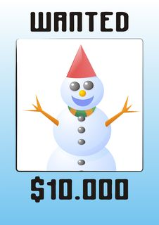 Free Snowman Wanted Stock Photography - 1312212