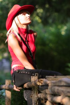 Free Sexy Blonde Cowgirl Royalty Free Stock Photo - 1315795
