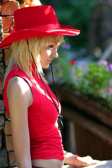 Free Sexy Blonde Cowgirl Royalty Free Stock Photography - 1316067
