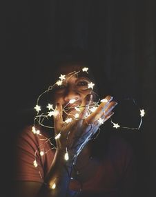 Free Close-Up Photo Of A Woman Holding String Lights Stock Photos - 131017423