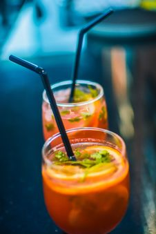 Free Two Beverages In Footed Glasses With Black Straws Stock Images - 131017554