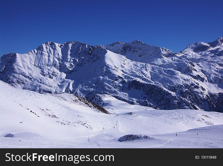 Ski resort winter view