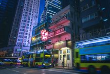 Free Buildings In Downtown Hong Kong At Night Stock Photography - 131108922