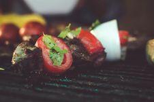 Free Kebab On Black Metal Grill Stock Image - 131108951