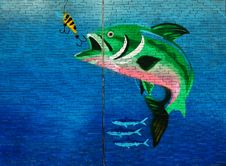 Free Green Fish About To Eat The Fish Hook Wall Art Stock Photography - 131109132