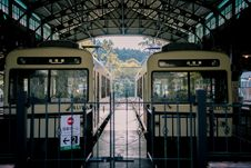 Free Two White Trains Inside Train Station Stock Photo - 131266430