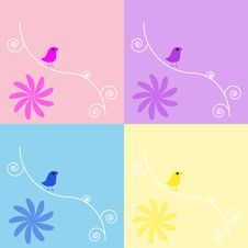 Free Birds Floral Background Set Stock Image - 13132421