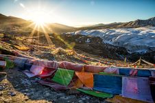 Free Assorted-color Flags On Mountain During Sunrise Stock Image - 131422741
