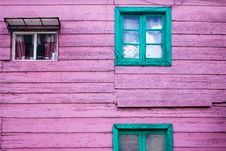 Free Purple Wooden House With Green Wooden Windows Stock Photo - 131423030