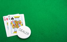 Pair Of Kings For The Dealer On Green Royalty Free Stock Photo