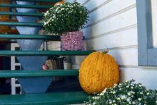 Free Orange Squash On Green Wooden Stairs Stock Image - 131518511
