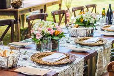 Free Fine Dining Set On Table Stock Images - 131518694