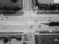 Free Grayscale Photo Of Top View Photography Of Road With Vehicles Stock Images - 131719544