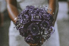 Free Bride Holding Bouquet Of Purple Flowers Stock Photos - 131719603
