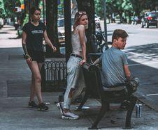 Free Three Person Staying On Sidewalk Stock Photo - 131719680