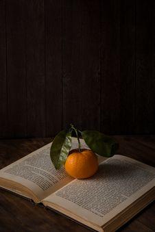Free Photo Of Orange On Top Of Book Stock Photos - 131720153