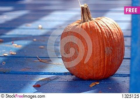 Pumpkin in shadows Stock Photo