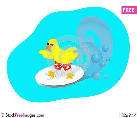 Surfing Duck Cartoon Illustration