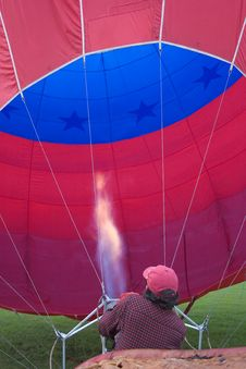 Inflating Hot Air Balloon Royalty Free Stock Image