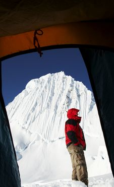 Free Climber And Alpamayo Peak From The Tent Stock Images - 1323594