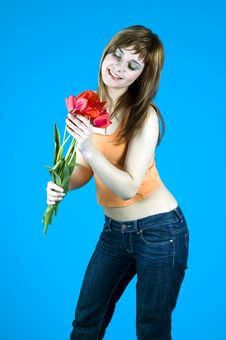 Free Teen And Tulips Royalty Free Stock Photography - 1324077