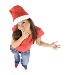 Free Young And Attractive Female Santa Thinking Royalty Free Stock Photo - 1324755
