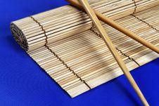 Free Chopsticks And Bamboo Mat Stock Image - 1326101