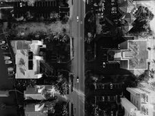 Free Bird S Eye View Of Of Road And Buildings Stock Photo - 132036640