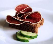 Salami On A Bread Stock Photo