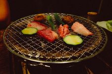 Free Raw Meat And Vegetable On Grill Pot Stock Photos - 132106443