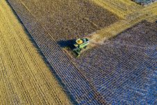 Free Aerial Photo Of Milling Truck On Field Harvesting Crops Royalty Free Stock Photography - 132219167